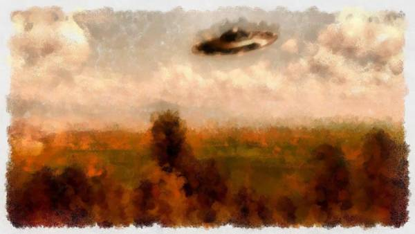 Area 51 Wall Art - Painting - Ufo Countryside by Esoterica Art Agency