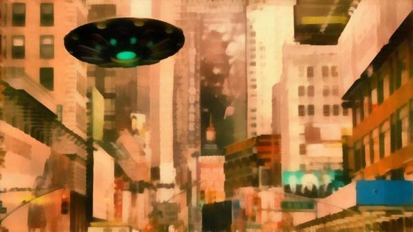 Saucer Painting - Ufo In City by Esoterica Art Agency