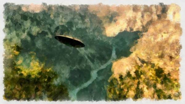 Area 51 Wall Art - Painting - Ufo In Ravine by Esoterica Art Agency