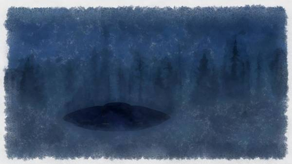 Crash Painting - Ufo In The Mist by Esoterica Art Agency