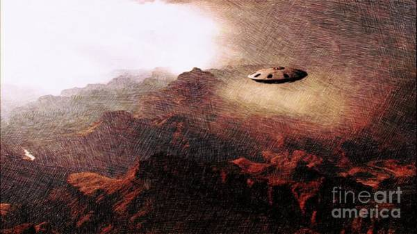 Paranormal Drawing - Ufo In The Mountains by Raphael Terra