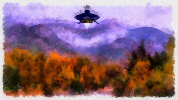 Area 51 Wall Art - Painting - Ufo Landing by Esoterica Art Agency