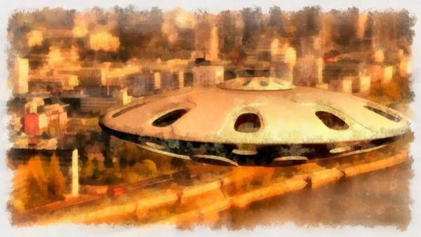 Area 51 Wall Art - Painting - Ufo Over City by Esoterica Art Agency