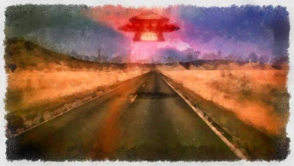Area 51 Wall Art - Painting - Ufo Over Highway by Esoterica Art Agency