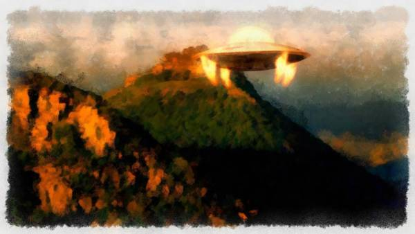 Area 51 Wall Art - Painting - Ufo Over Mountains by Esoterica Art Agency