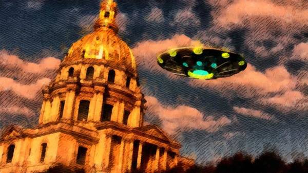 Area 51 Wall Art - Painting - Ufo Over Paris by Raphael Terra