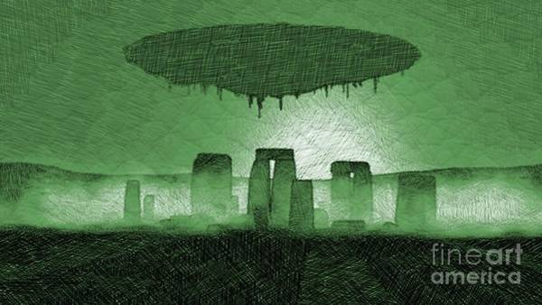 Paranormal Drawing - Ufo Over Stonehenge by Raphael Terra