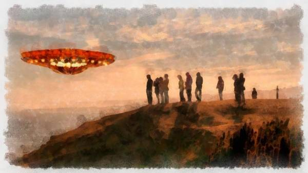 Abduction Wall Art - Painting - Ufo Spotters by Esoterica Art Agency