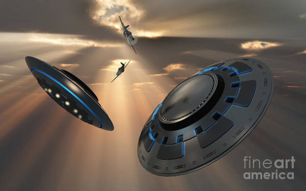 Extraterrestrial Digital Art - Ufos And Fighter Planes In The Skies by Mark Stevenson