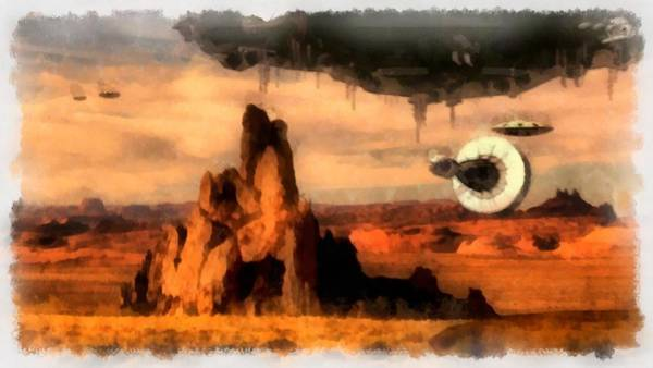 Area 51 Wall Art - Painting - Ufos In Desert by Esoterica Art Agency