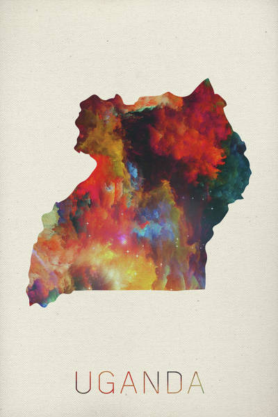 Uganda Wall Art - Mixed Media - Uganda Watercolor Map by Design Turnpike