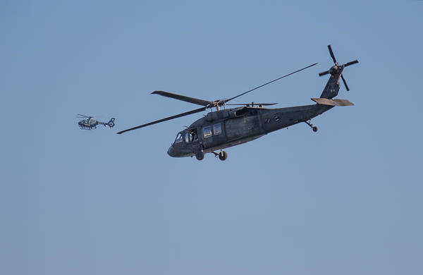 Photograph - Uh-60 Blackhawk And Massachusetts State Police Helicopters  by Brian MacLean