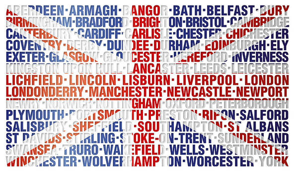 Greater Manchester Wall Art - Digital Art - Uk Cities Union Flag by Thisis Notme
