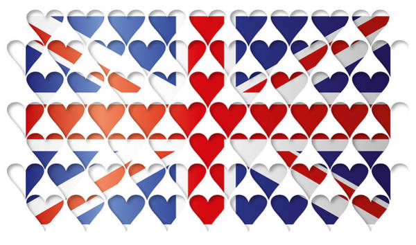 Greater Manchester Wall Art - Digital Art - Uk Hearts Flag by Thisis Notme