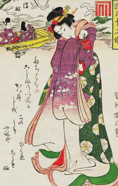 Kansai Painting - Ukifune  From The Series Twelve Seasons by Kikugawa Eizan