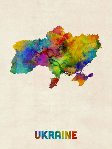 Europe Map Digital Art - Ukraine Watercolor Map by Michael Tompsett