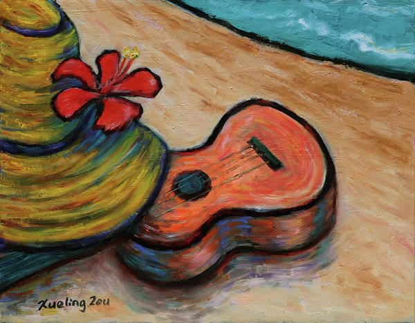 Painting - Ukulele And Hibiscus Flower On  A Hawaii Beach by Xueling Zou