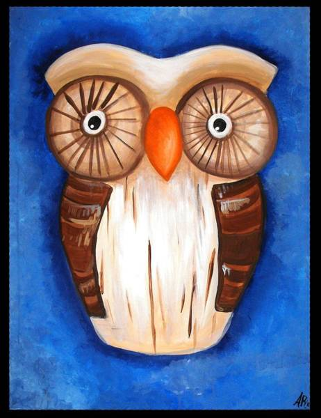 Wall Art - Painting - Ula The Wooden Owl by Alycia Ryan
