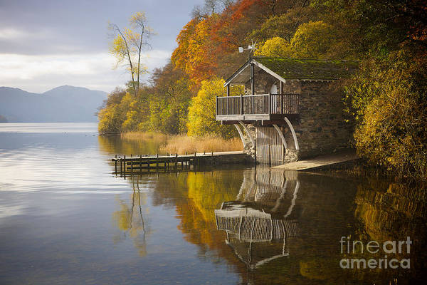 Pooley Bridge Wall Art - Photograph - Ullswater Boat House Autumn Glory 2 by Andrew Findlay