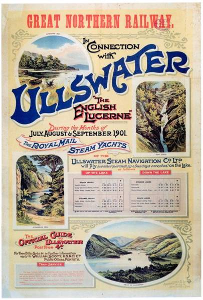 Railway Painting - Ullswater - Great Northern Railway - Landscape Illustrations - Vintage Advertising Poster by Studio Grafiikka