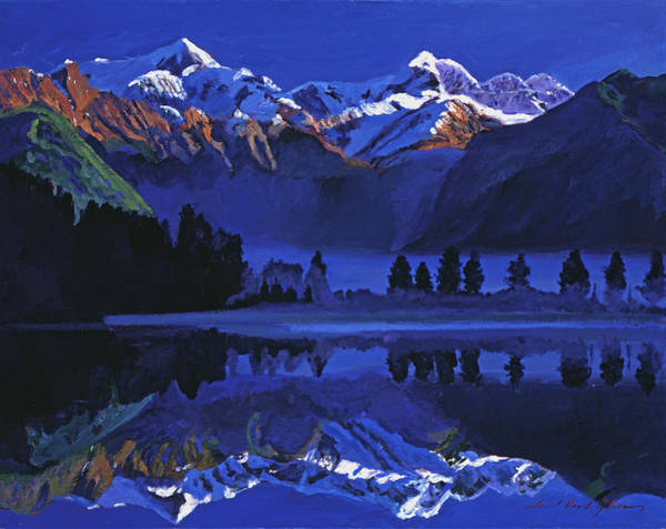 Mountain Lake Painting - Ultimate Blue by David Lloyd Glover
