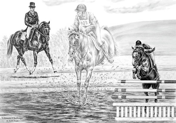 Drawing - Ultimate Challenge - Eventing Horse Print by Kelli Swan