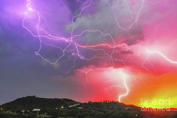 Wall Art - Photograph - Ultimate Sunset Lightning by Michael Tidwell