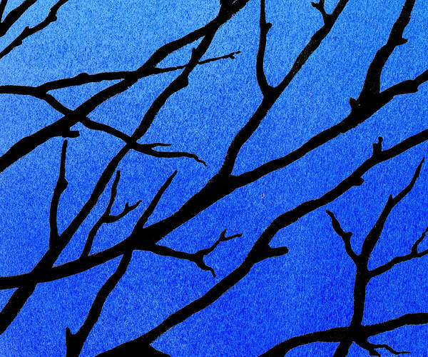 Ultramarine Blue Painting - Ultramarine Forest Winter Blues II by Irina Sztukowski