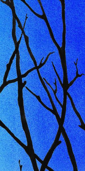 Ultramarine Blue Painting - Ultramarine Forest Winter Blues IIi by Irina Sztukowski