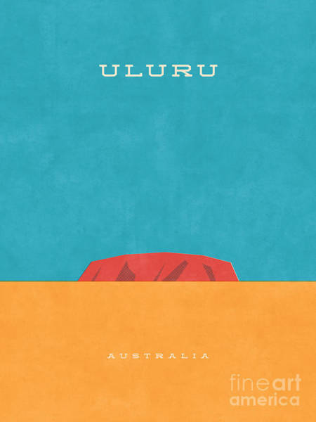 Wall Art - Digital Art - Uluru Ayers Rock Retro Tourism by Ivan Krpan