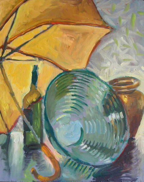 Wall Art - Painting - Umbrella And The Bottle by Piotr Antonow