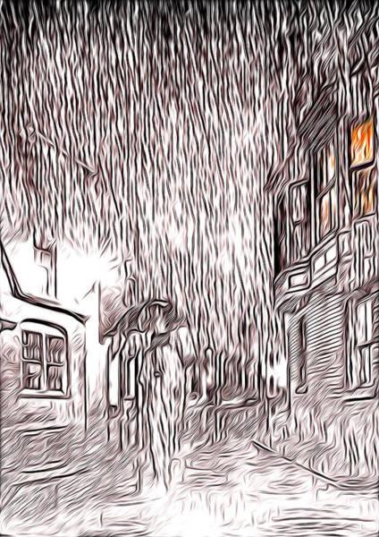 Light And Shadow Digital Art - Umbrella Man by Svetlana Sewell