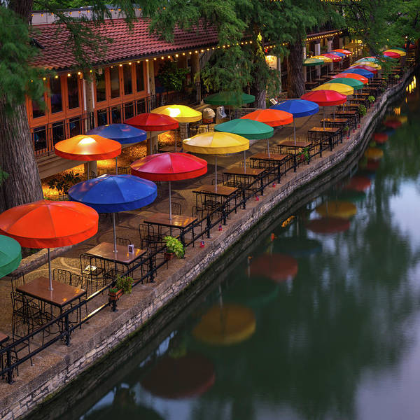 Photograph - Umbrellas Along The San Antonio Riverwalk - Square by Gregory Ballos