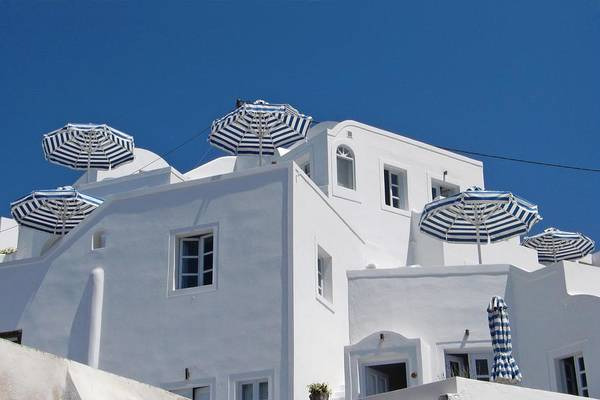 Umbrellas - Santorini, Greece Art Print