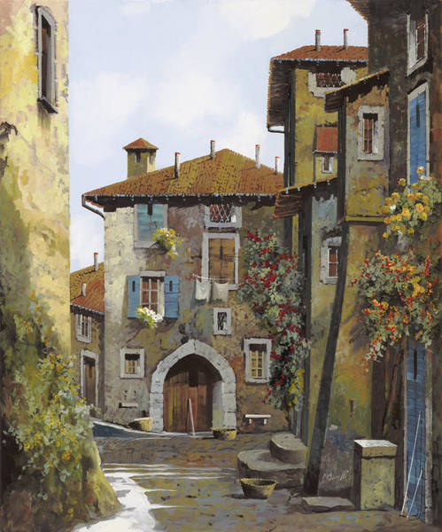 Narrow Street Painting - Umbria by Guido Borelli