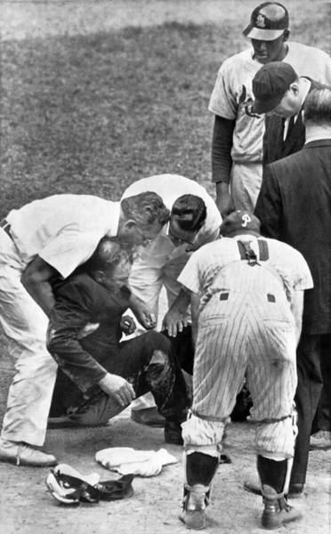 Wall Art - Photograph - Umpire Down From Foul Tip by Underwood Archives
