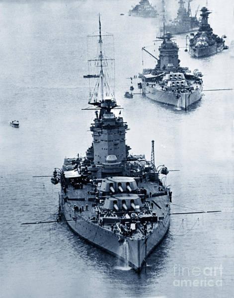 Hms Nelson And Hms Rodney Battleships And Battlecruisers Hms Hood Circa 1941 Art Print