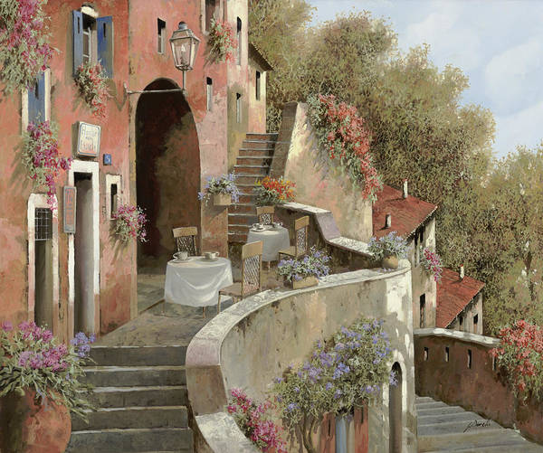 Village Painting - Un Caffe Al Fresco Sulla Salita by Guido Borelli