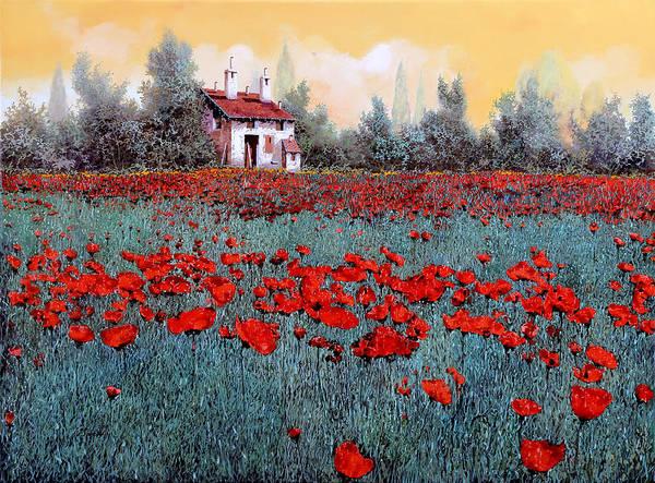 Poppy Field Painting - Un Campo Di Papaveri by Guido Borelli