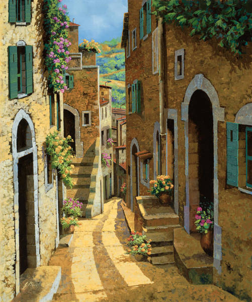 France Wall Art - Painting - Un Passaggio Tra Le Case by Guido Borelli