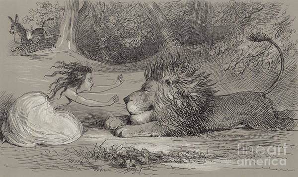Wall Art - Drawing - Una And The Lion  by Richard Doyle