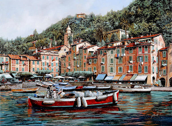 Harbour Wall Art - Painting - Una Lunga Barca Rossa by Guido Borelli