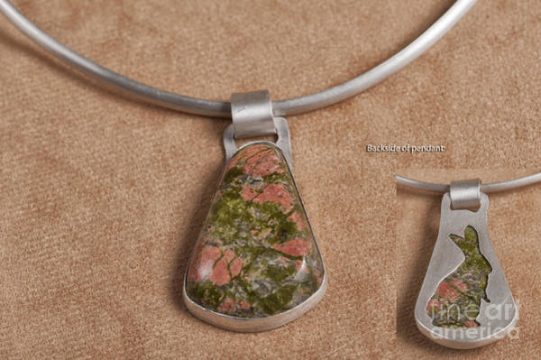 Sterling Silver Wall Art - Jewelry - Unakite Pendant Set In Sterling Silver by Melany Sarafis