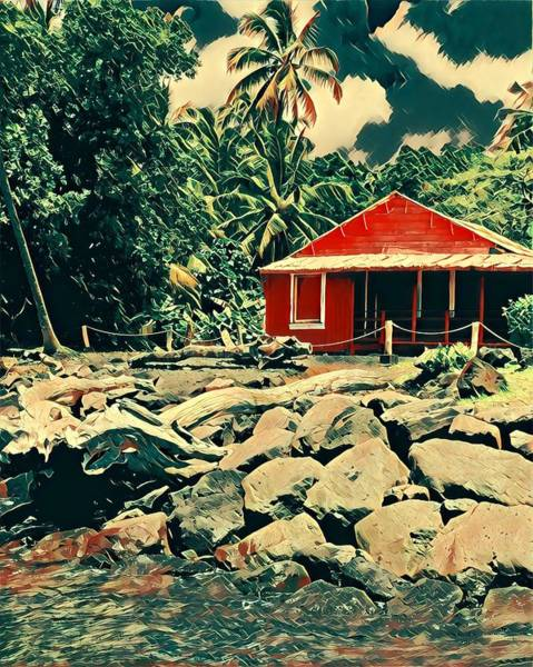 Photograph - Uncle Hales L Grass Shack Pohoiki by Joalene Young