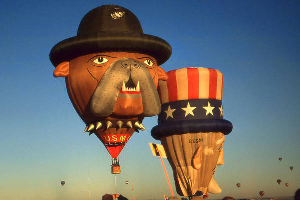 Photograph - American Hot Air Balloons - Uncle Sam And Bull Dog by Peter Potter