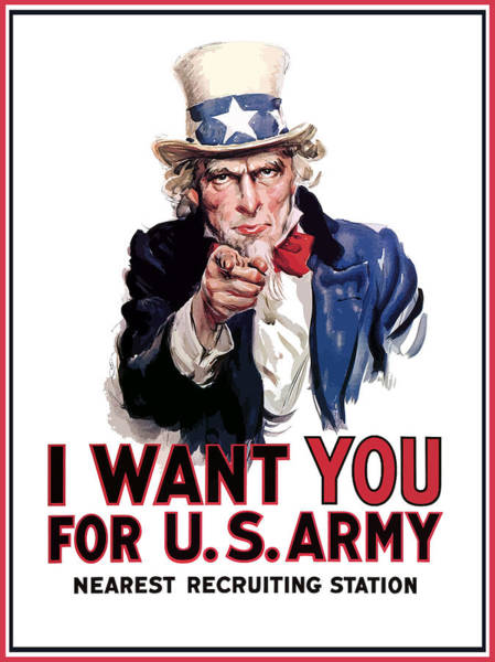 Wall Art - Painting - Uncle Sam -- I Want You by War Is Hell Store
