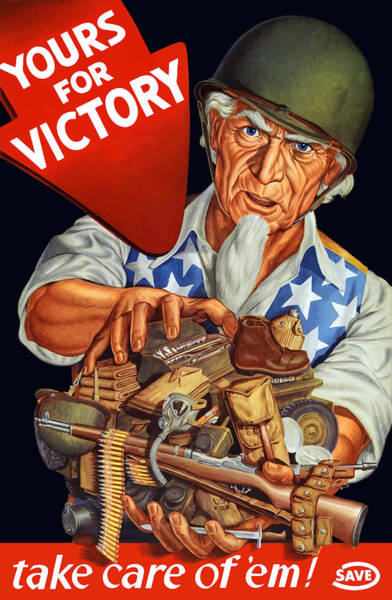 Wall Art - Painting - Uncle Sam - Yours For Victory by War Is Hell Store