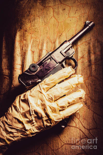 Horrible Photograph - Undead Mummy  Holding Handgun Against Wooden Wall by Jorgo Photography - Wall Art Gallery