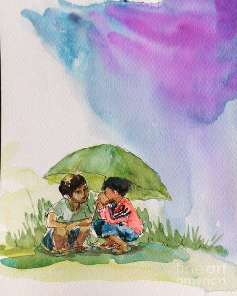 Painting - Under An Umbrella by Asha Sudhaker Shenoy