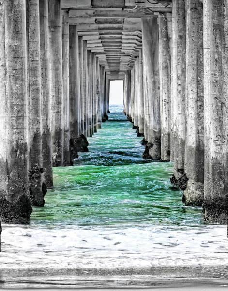 Under The Pier Photograph - Under Hb Pier Bw by Rosanne Nitti
